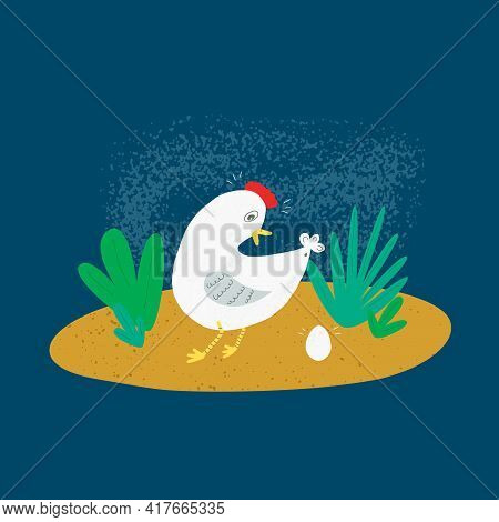Vector Illustration, Hen And Laid Egg, Funny Flat Illustration With Texture. Cute Chicken Upon Color