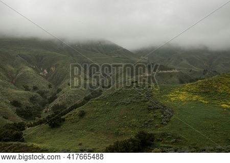 Foggy green mountains background landscape photography