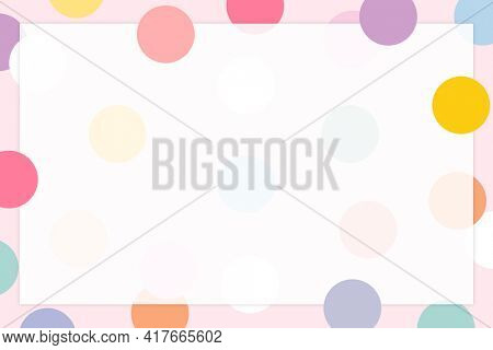 Pastel polka dot frame in cute pastel pattern