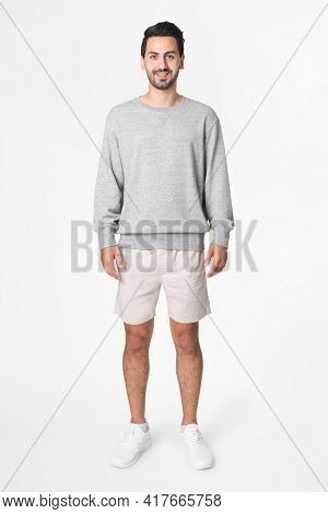 Man in gray basic sweater with design space casual apparel full body