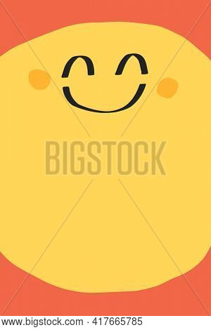 Yellow background with cute happy face icon