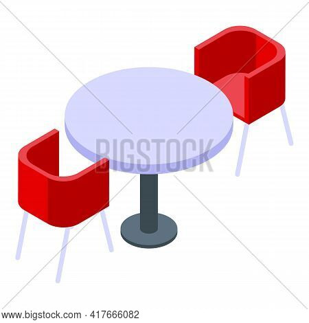 Meeting Table Icon. Isometric Of Meeting Table Vector Icon For Web Design Isolated On White Backgrou