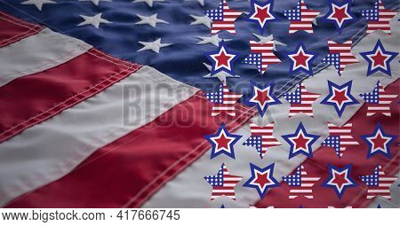 Composition of rows of american flag stars over american flag. american patriotism and democracy concept digitally generated image.