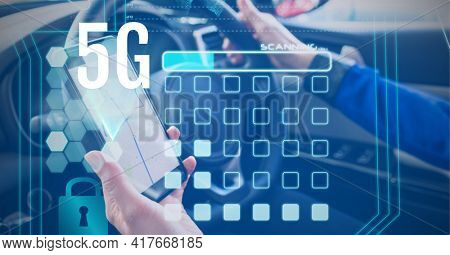 Composition of 5g text over digital icons and businesswoman using smartphone in car. global networking, communication and digital interface concept digitally generated image
