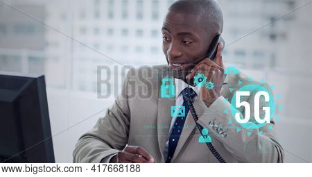 Composition of 5g text over digital icons and businessman talking on smartphone. global networking, communication and digital interface concept digitally generated image.