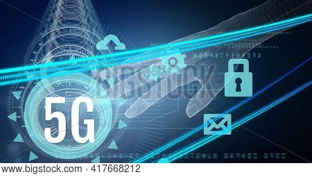 Composition of 5g text over multiple scopes, hand and digital icons. global networking, communication and digital interface concept digitally generated image.