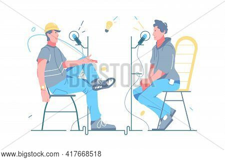 Person Radio Host Interviewing Guest Vector Illustration. People On Online Radio Interview Flat Styl