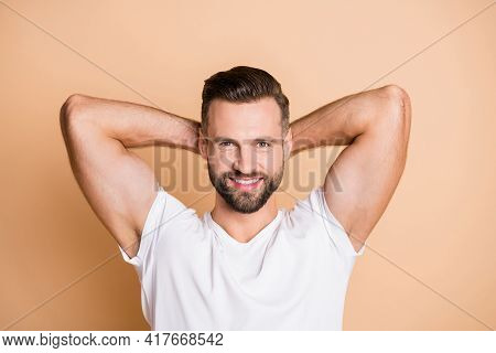 Top Above High Angle Photo Of Young Happy Positive Smile Stubble Guy Hands Behind Head Rest Relax Br