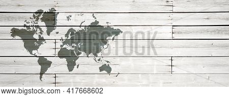 World Map Isolated On White Wooden Wall Background. Horizontal Banner