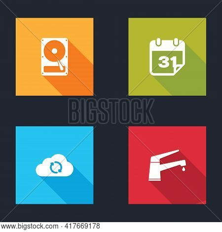 Set Hard Disk Drive Hdd, Calendar, Cloud Sync Refresh And Water Tap Icon. Vector
