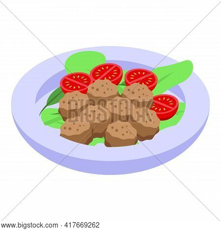 Falafel Salad Icon. Isometric Of Falafel Salad Vector Icon For Web Design Isolated On White Backgrou