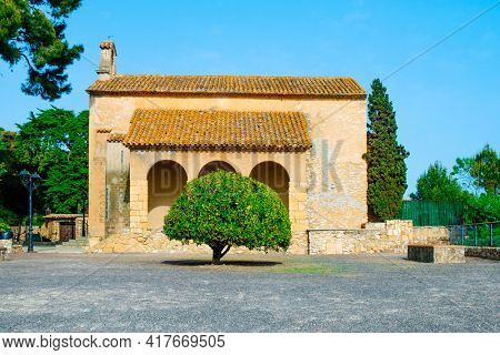 a view of the small shrine of Our Lady of Bera, dedicated to the Virgin Mary, in Roda de Bera, Spain, built in the 18th century