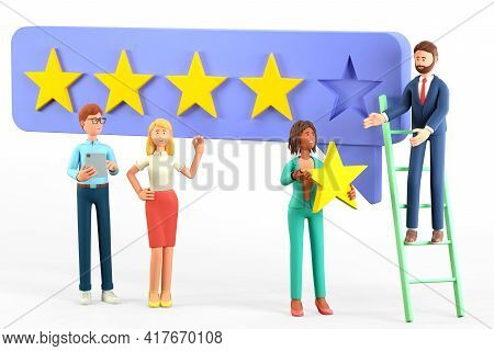 3d Illustration Of Customer Service Concept With Multicultural People Characters Giving Five Star Fe