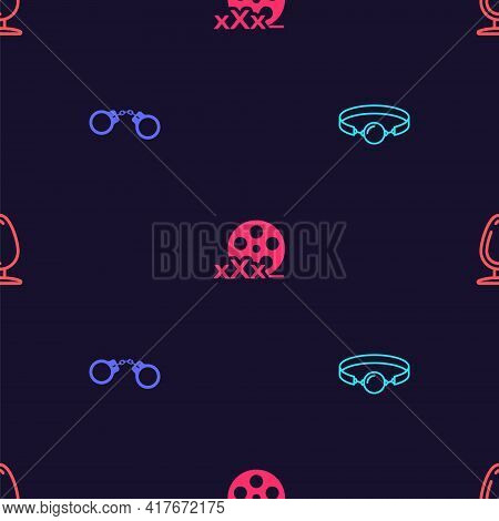 Set Silicone Ball Gag, Handcuffs, Film Reel With Sex And Anal Plug On Seamless Pattern. Vector