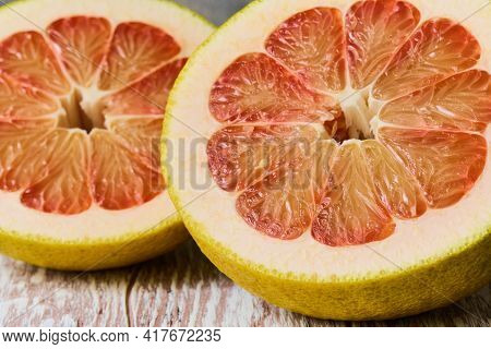The Flesh Of A Juicy Fresh Pomelo In Close-up, Shallow Depth Of Sharpness