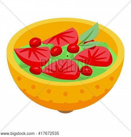 Fruit Salad Icon. Isometric Of Fruit Salad Vector Icon For Web Design Isolated On White Background