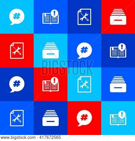 Set Hashtag Speech Bubble, Interesting Facts, File Document Service And Drawer With Documents Icon.