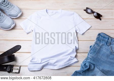 Mens T-shirt Mockup With Jeans, And Belt