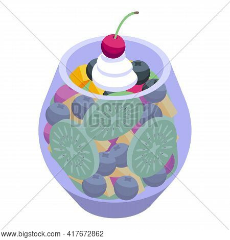 Exotic Fruit Salad Icon. Isometric Of Exotic Fruit Salad Vector Icon For Web Design Isolated On Whit
