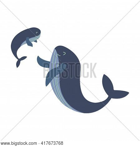 Mother Blue Whale Rejoices Looking At Her Happy Child. Mothers Day. Colorful Vector Isolated Illustr