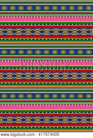 Tribal Vector Seamless Pattern. Bright Colorful Geometric Striped Ornament. Ethnic, Boho Style. Mexi