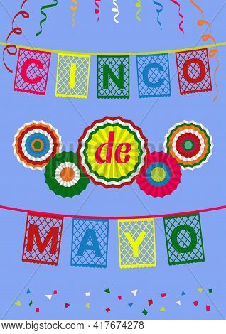 Cinco De Mayo  Greeting Card, Banner, Invitation, Poster. Colorful Papel Picado (paper Cut Out) Flag