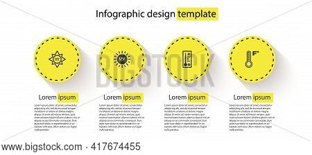 Set Uv Protection, , Meteorology Thermometer And . Business Infographic Template. Vector