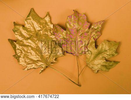 Golden leaves. Gold leaf. Decoration.