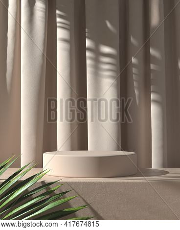 Modern Minimal Product Stand Display With Sunshade Palm Leaf Shadow On Brown Curtain Abstract Backgr