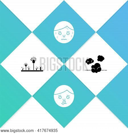 Set Mold, Runny Nose, Man With Excessive Sweating And Dust Icon. Vector