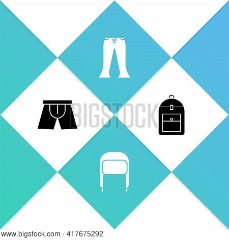 Set Men Underpants, Winter Hat With Ear Flaps, Pants And Backpack Icon. Vector