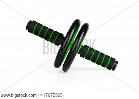 Ab Wheel Isolated On A White Background. Black Green Fitness Gym Roller For Abdominal Muscles Exerci