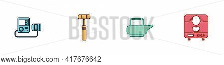 Set Blood Pressure, Neurology Reflex Hammer, Bedpan And X-ray Machine Icon. Vector