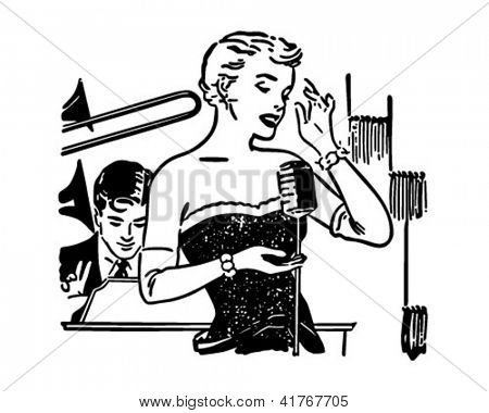 Nightclub Singer - Retro Clipart Illustration