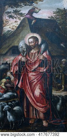 Gdansk, Poland - August 12, 2019: Close-up Of The Oil Painting Showing Jesus Christ As The Good Shep