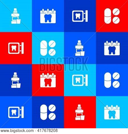 Set Mouthwash Bottle, Calendar With Tooth, Dental Clinic Location And Painkiller Tablet Icon. Vector