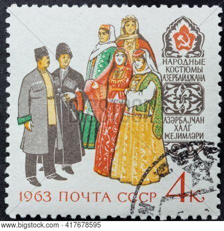 Republic Of Ussr - Circa 1963: Postage Stamp Of 'azerbaijani Folk Costumes' Printed In Republic Of U