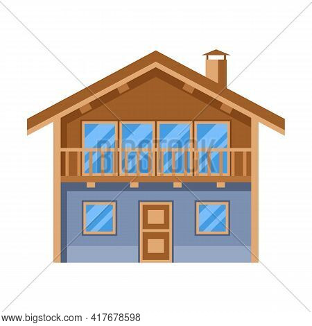 Illustration Of Wooden Chalet House. Adversting Icon For Travel Industry And Business.