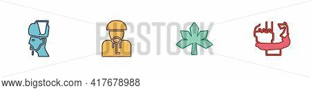Set Ukrainian Cossack, , Chestnut Leaf And Monument To Founders Of Kiev Icon. Vector