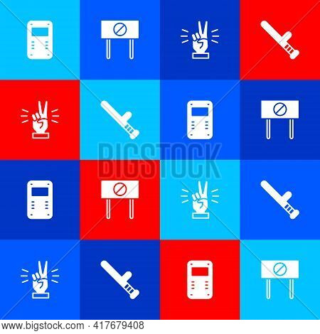 Set Police Assault Shield, Protest, Hand Showing Two Finger And Rubber Baton Icon. Vector