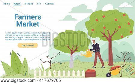Vector Cartoon Flat Farmer Character Grows Plantings, Garden Worker Tending Vegetables Crops-natural
