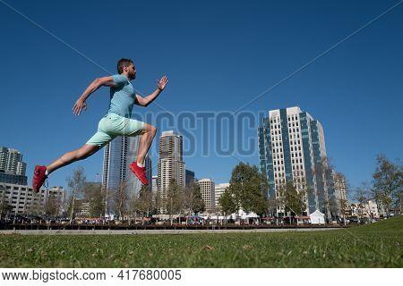 Man Runner Jogger Running In The City.