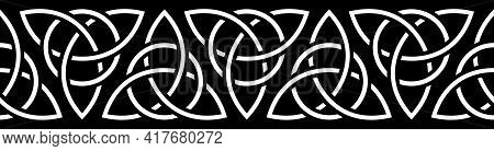 Celtic Border. Traditional Celtic Ornament With Medieval Triquetra Symbol. Repeat Seamless Pattern F