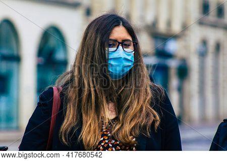 Reims France April 20, 2021 Anne Sophie Frigout For The Avenir Francais Supports The Demonstration O