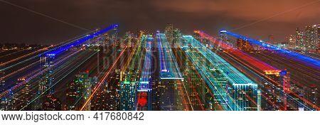 Skyline City Miami Lighting Lights Sea Ocean Sunset Night Cityscape Buildings Downtown, Architecture