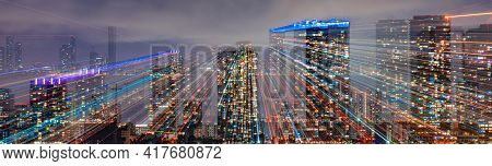 Miami Night Downtown. Miami Skyline At Night - Panoramic Image. City Lights.