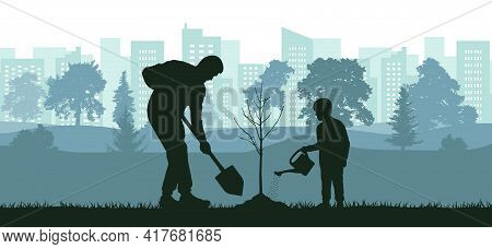 Landscaping Of Territory, Man And Child Planting Tree In City Park, Silhouette. Vector Illustration