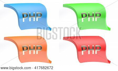 Php Icon Button Set With 4 Buttons In Different Colors On White Background - 3d Rendering Illustrati