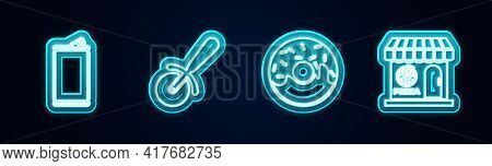 Set Line Aluminum Can, Pizza Knife, Donut And Pizzeria Building Facade. Glowing Neon Icon. Vector