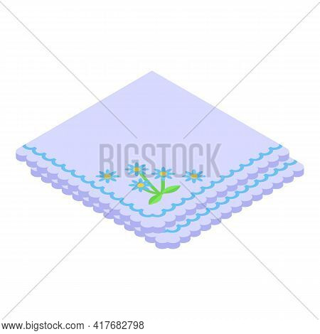 Cloth Handkerchief Icon. Isometric Of Cloth Handkerchief Vector Icon For Web Design Isolated On Whit